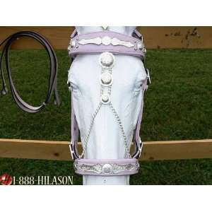 Tack Parade Show Silver Bridle Headstall With Reins