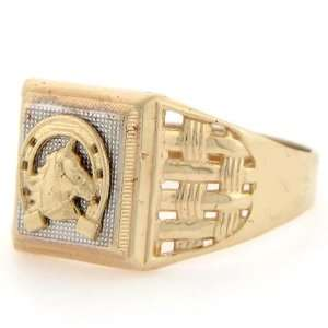 10k Solid Two Tone Gold Lucky Horseshoe Mens Ring Jewelry