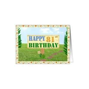 Happy 81st Birthday Sign on Footpath Card  Toys & Games