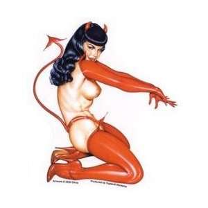 Deberardinis Sexy Kneeling Devil Bettie Page Pinup Car Sticker Decal
