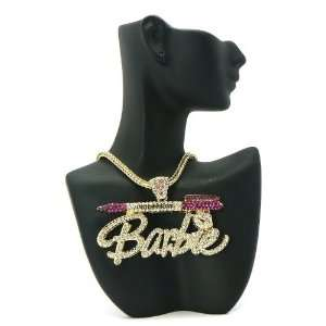 NICKI MINAJ BARBIE Script Pen Pendant w/Franco Chain Gold/Fuchsia