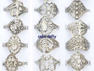 jewelry mixed lots 30pcs tibet silver rings vintage type