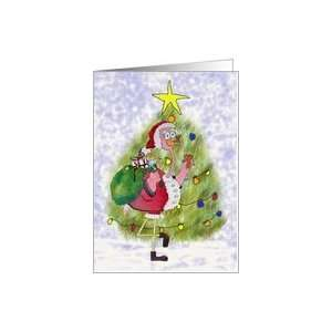 Pink Flamingo Santa Christmas Merry Tree Whimsical Card Card