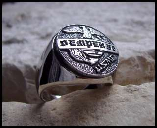 USMC SEMPER FI MARINES CORPS RING SURGICAL STEEL (D22)